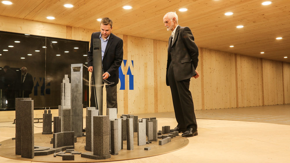 Derek Kelly and Peter Irwin testing Shanghai Tower in wind tunnel