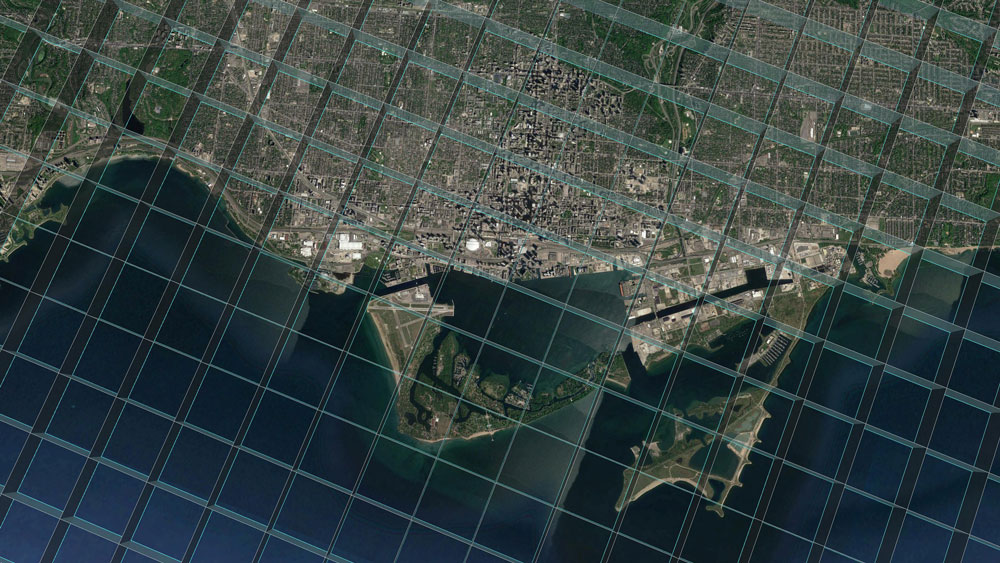 Aerial map of coastline with overlaid grid