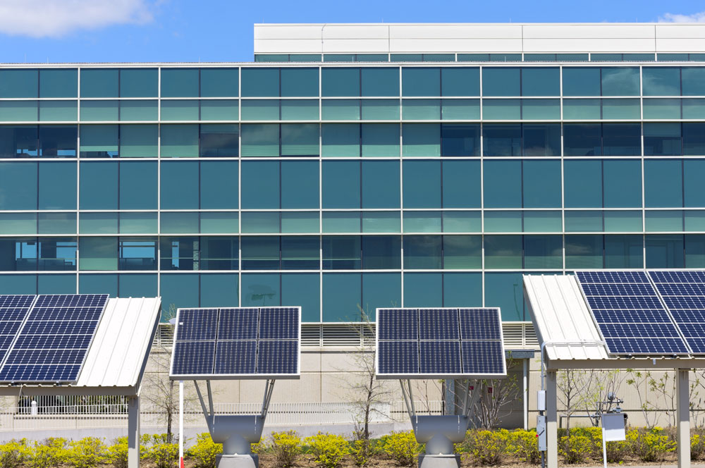 Solar panels outside office building