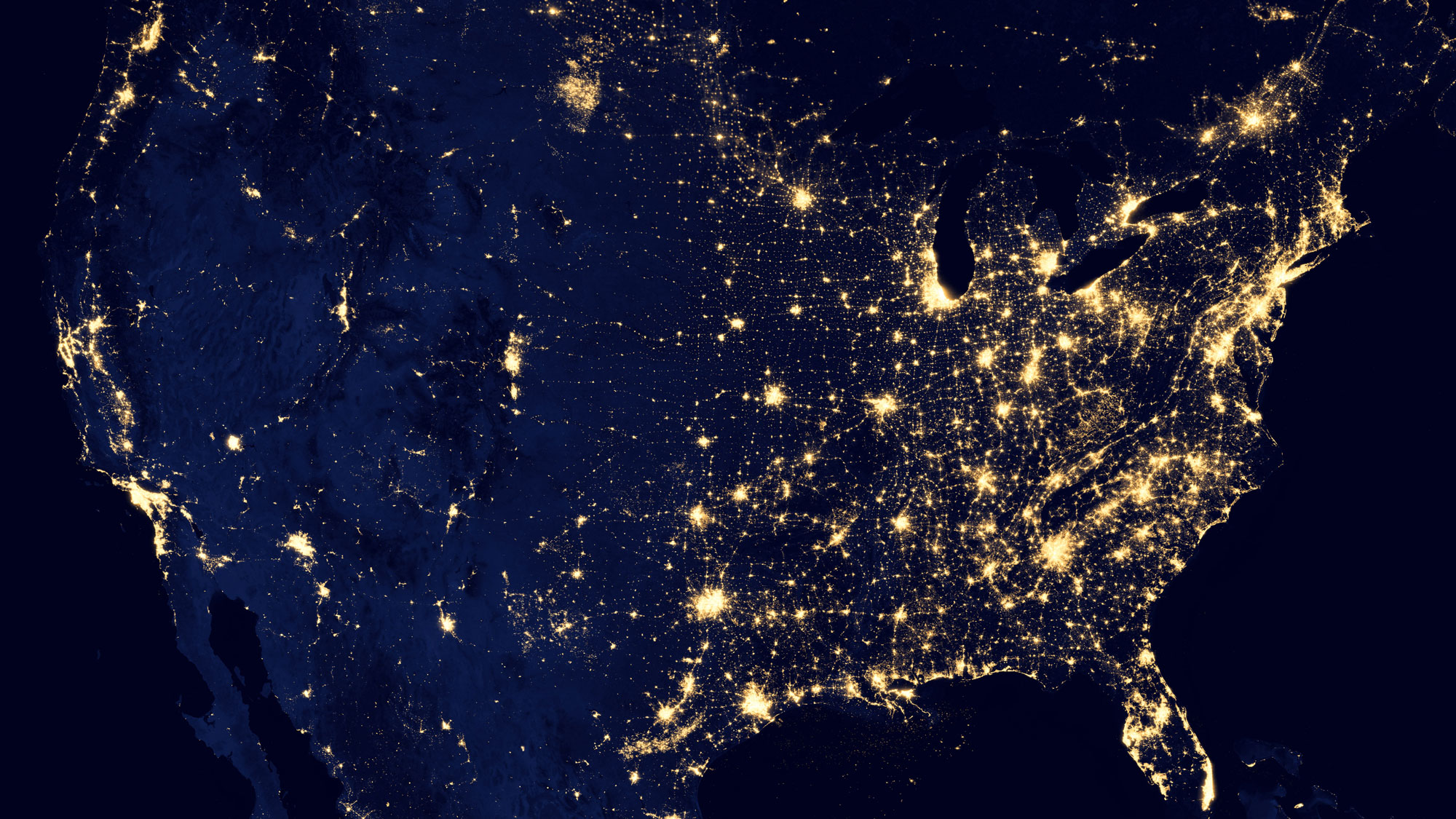 Night view of North American Continent