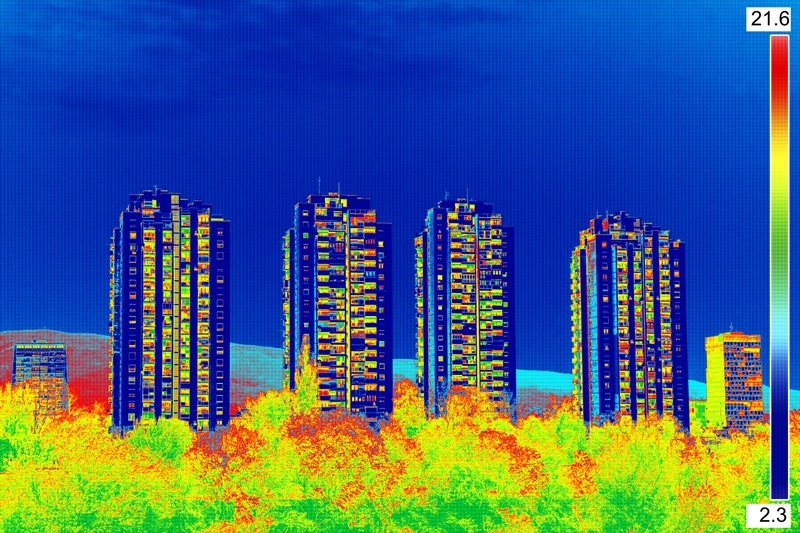 Temperature reading of apartment buildings