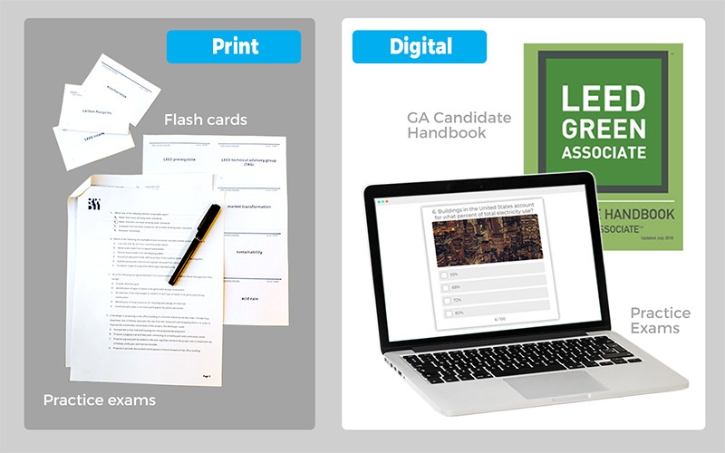 Print and digital exam preparation materials