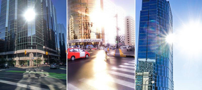 3 images of glare and reflection from building facades