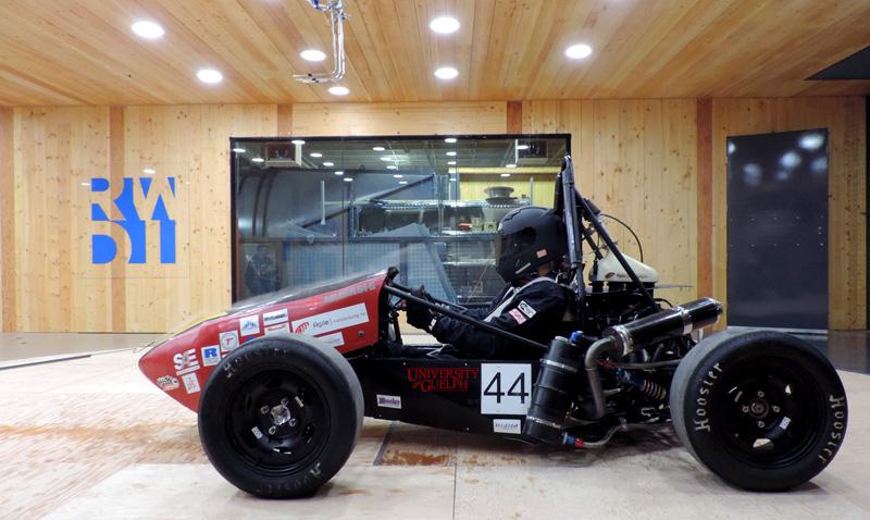 Formula SAE car in wind tunnel