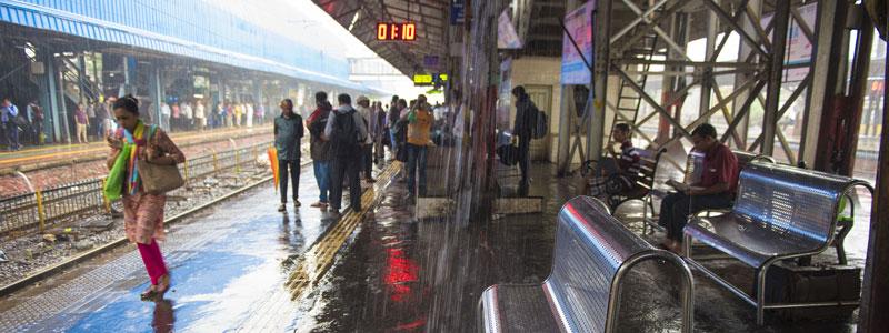Rain at Mumbai station