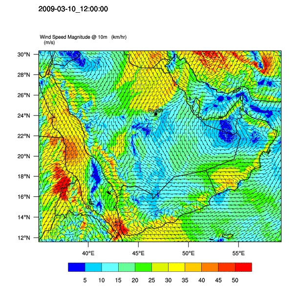 Simulated mean wind speed (km/h) across study region on March 10, 2009