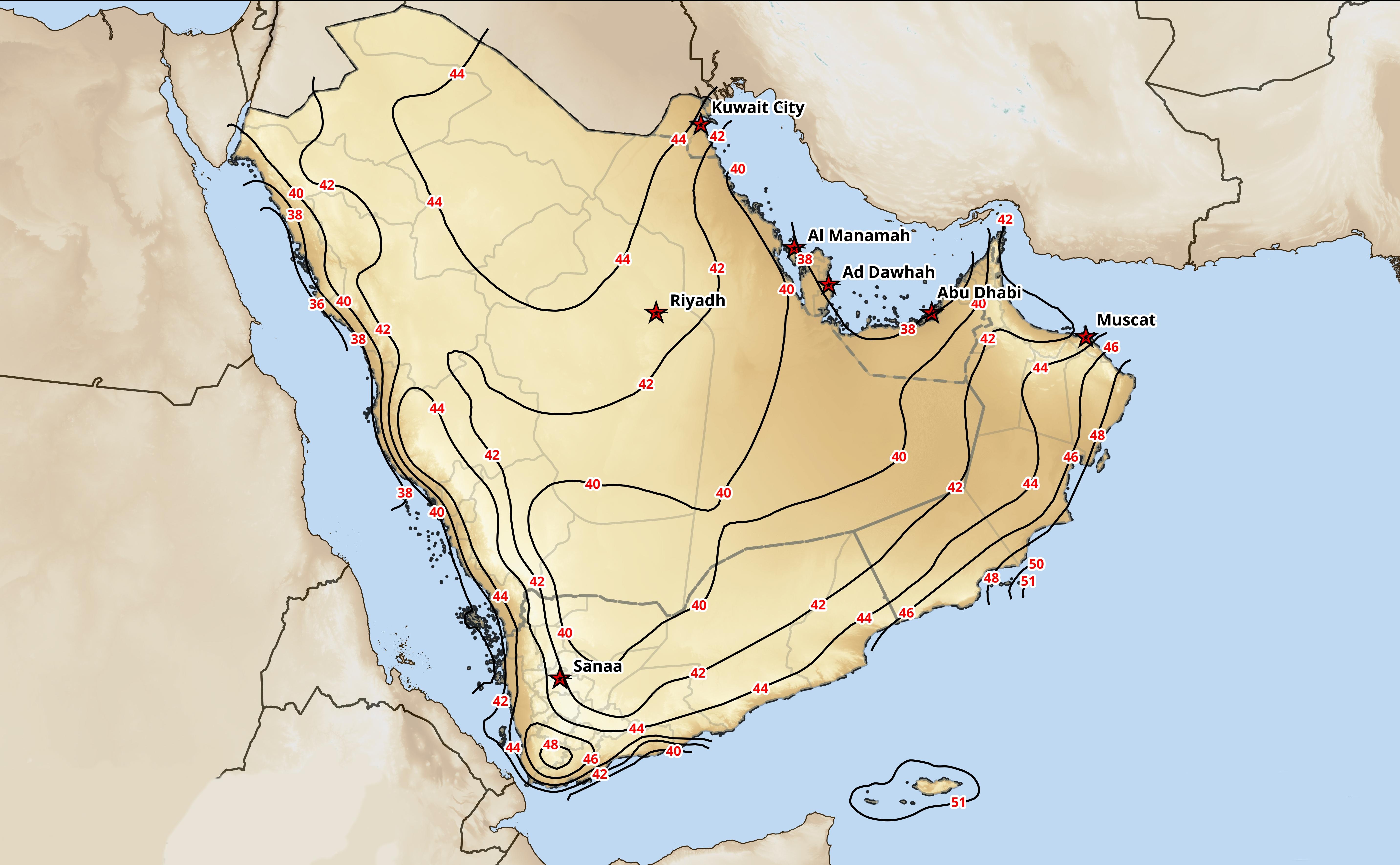 Wind speeds over Saudi Arabia