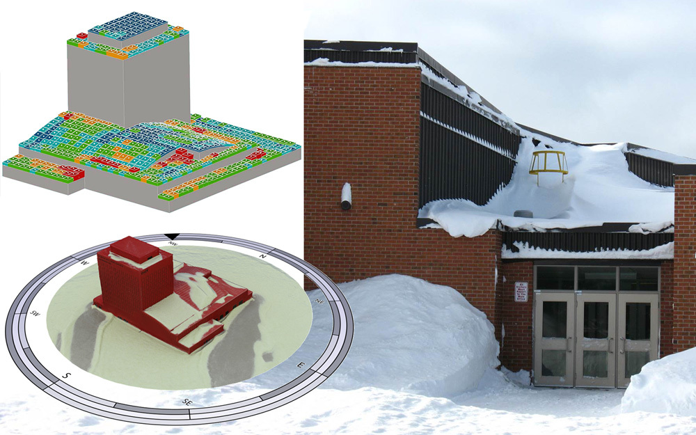 Snow loading analysis shows build up of snow on roof of building demonstrating why we need climate change provisions for resilient building design