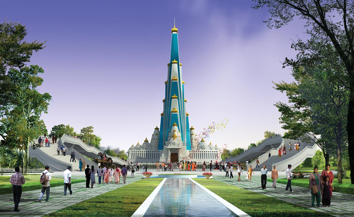 Vrindavan Chandrodaya Temple Render  Front View Web