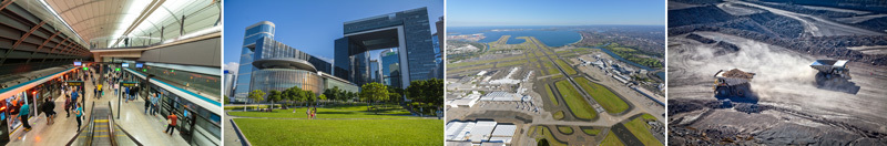 Sydney rail station, Hong Kong government building, Sydney Airport and coal mine