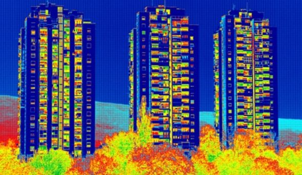 thermal image of residential highrise buildings