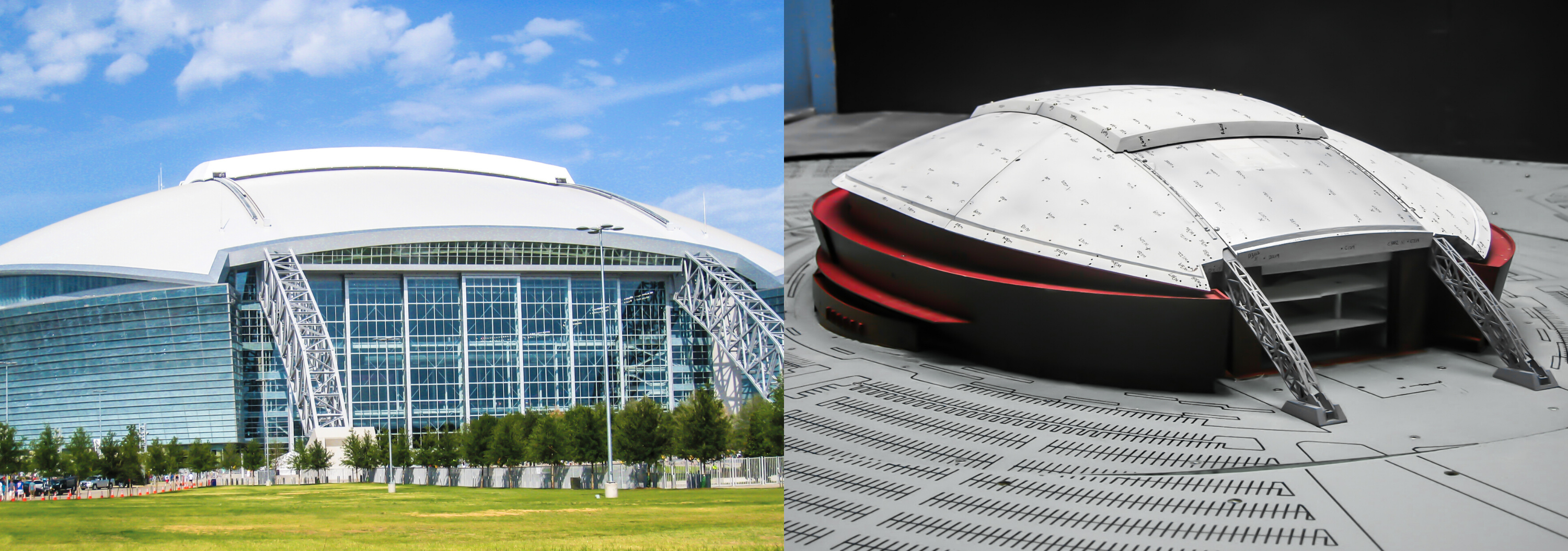 The Dallas Cowboys stadium (left) and a model built by RWDI.