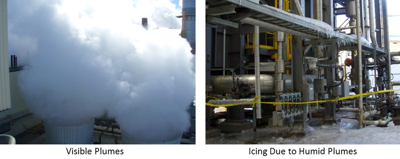 visible plumes and icing on ventilation equipment due to humid plumes