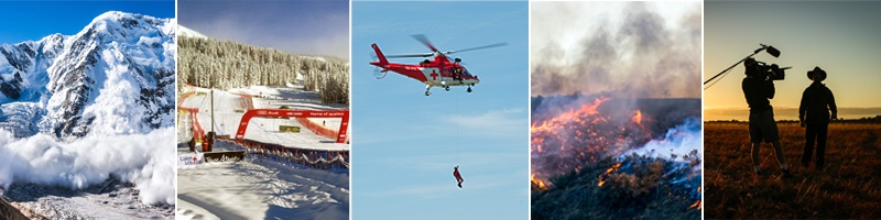 avalanche, ski slope, rescue helicopter, wild fire, film crew