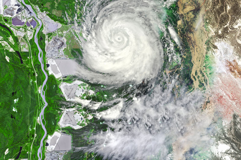 aerial view of hurricane